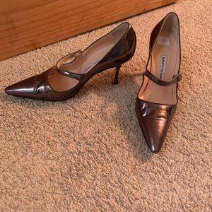 Manolo Blahnik metallic shoes